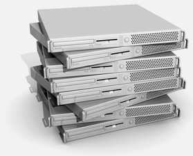 a stack of computer servers